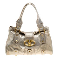 Valentino Gold Leather Crystal Catch Satchel