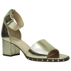 Valentino Gold Leather Soul Rockstud Ankle Strap Block Heel - 36.5