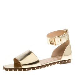 Valentino Gold Leather Soul Rockstud Ankle Strap Flat Sandals Size 37.5