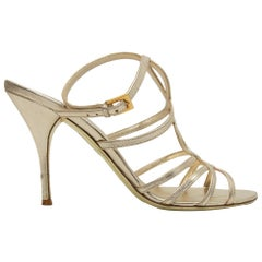 Valentino Gold Metallic Leather Strappy Sandals