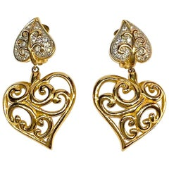 Valentino Gold & Rhinestone 1980s Heart Earrings