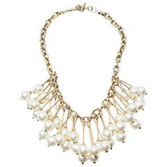 Valentino Gold Tone Hanging Pearl Cluster Necklace