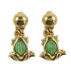 Valentino Goldtone Frog Earrings