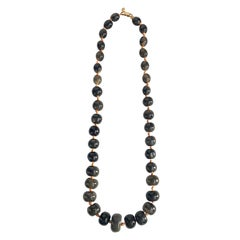 Valentino Graduated Grey Bead 1980s Necklace