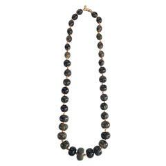 Valentino Graduated Grey Bead 1980s Necklace