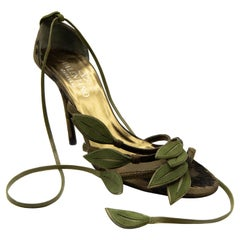 Valentino Green Bamboo Leaf Pewter Sandals