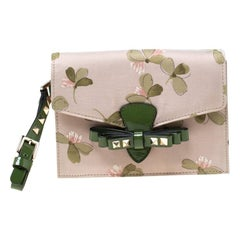 Valentino Green/Beige Floral Print Fabric Studded Bow Wristlet Clutch