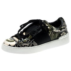 Valentino Green/Beige Floral Printed Leather Open Sneakers Size 39