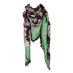 VALENTINO green black cashmere FLORAL Shawl Scarf