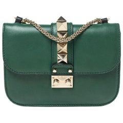 Valentino Green/Black Leather Small Rockstud Glam Lock Flap Bag