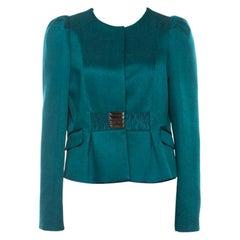 Valentino Green Jacquard Embellished Waist Cropped Jacket L