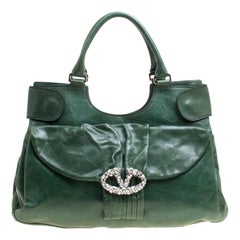 Valentino Green Leather Crystal Catch Shoulder Bag