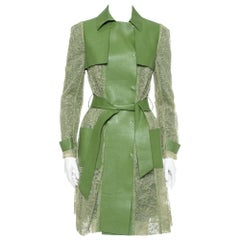 Valentino Green Leather & Lace Belted Trench Coat M