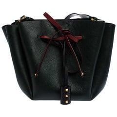 Valentino Green Leather Medium VLOGO Bucket Bag