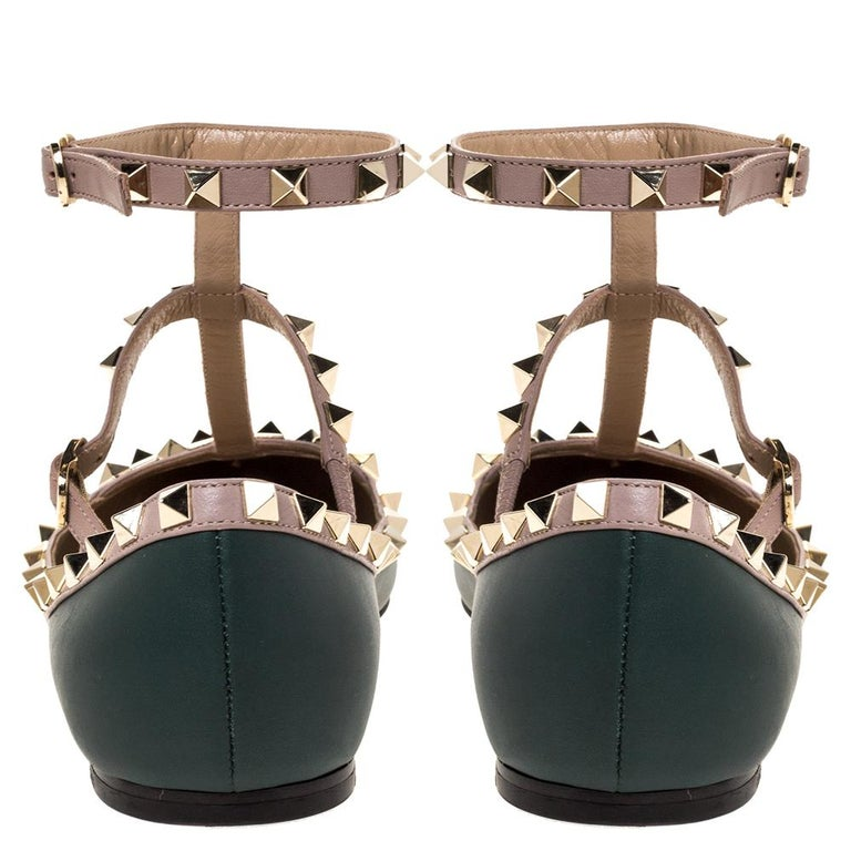 Women's Valentino Green Leather Rockstud Ankle Strap Ballet Flats Size 37.5 For Sale