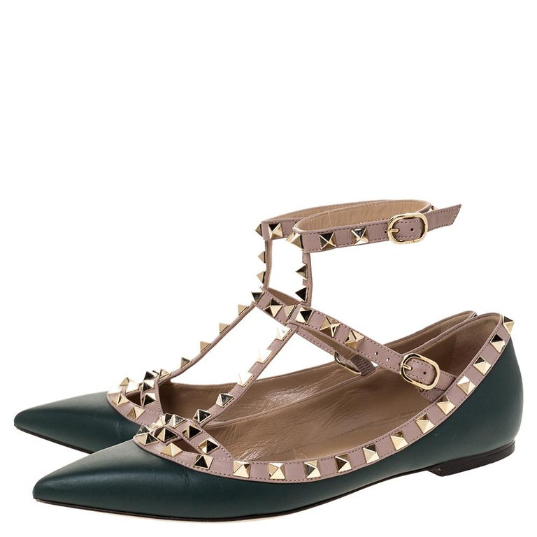 Valentino Green Leather Rockstud Ankle Strap Ballet Flats Size 37.5 For Sale 1