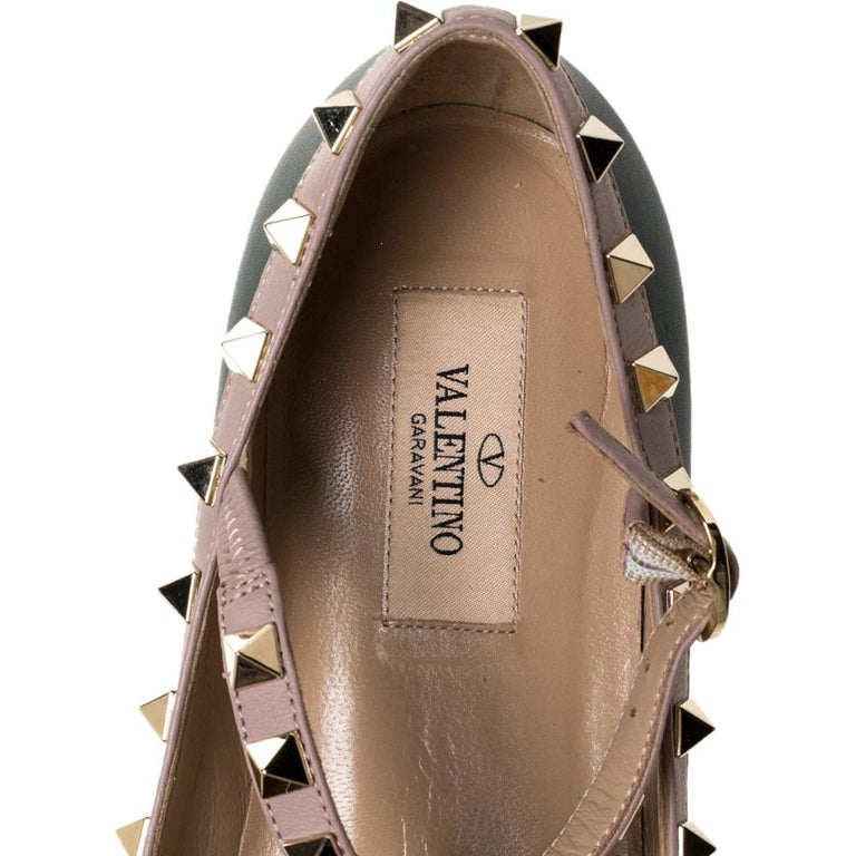 Valentino Green Leather Rockstud Ankle Strap Ballet Flats Size 37.5 For Sale 2