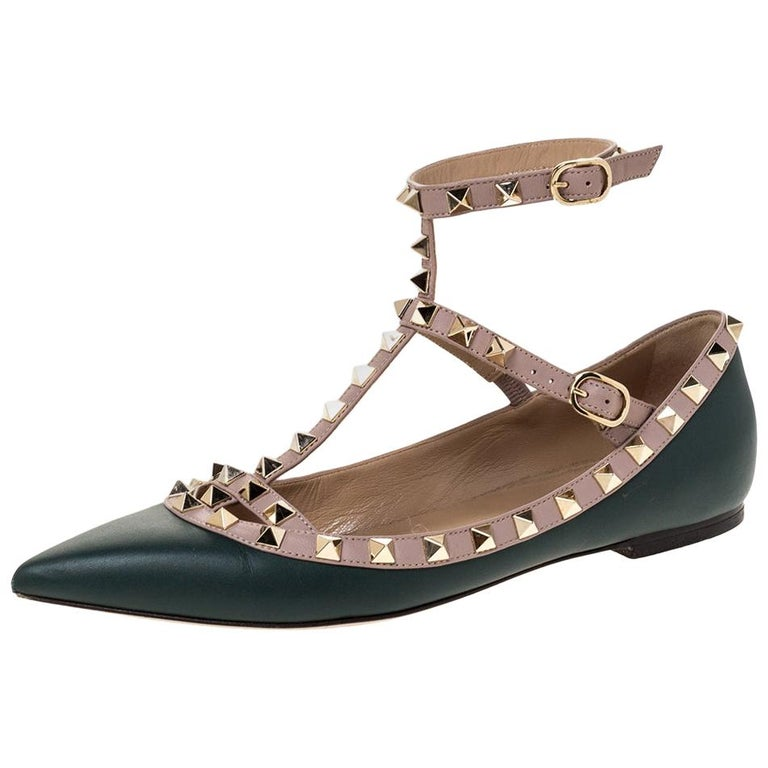Valentino Green Leather Rockstud Ankle Strap Ballet Flats Size 37.5 For Sale