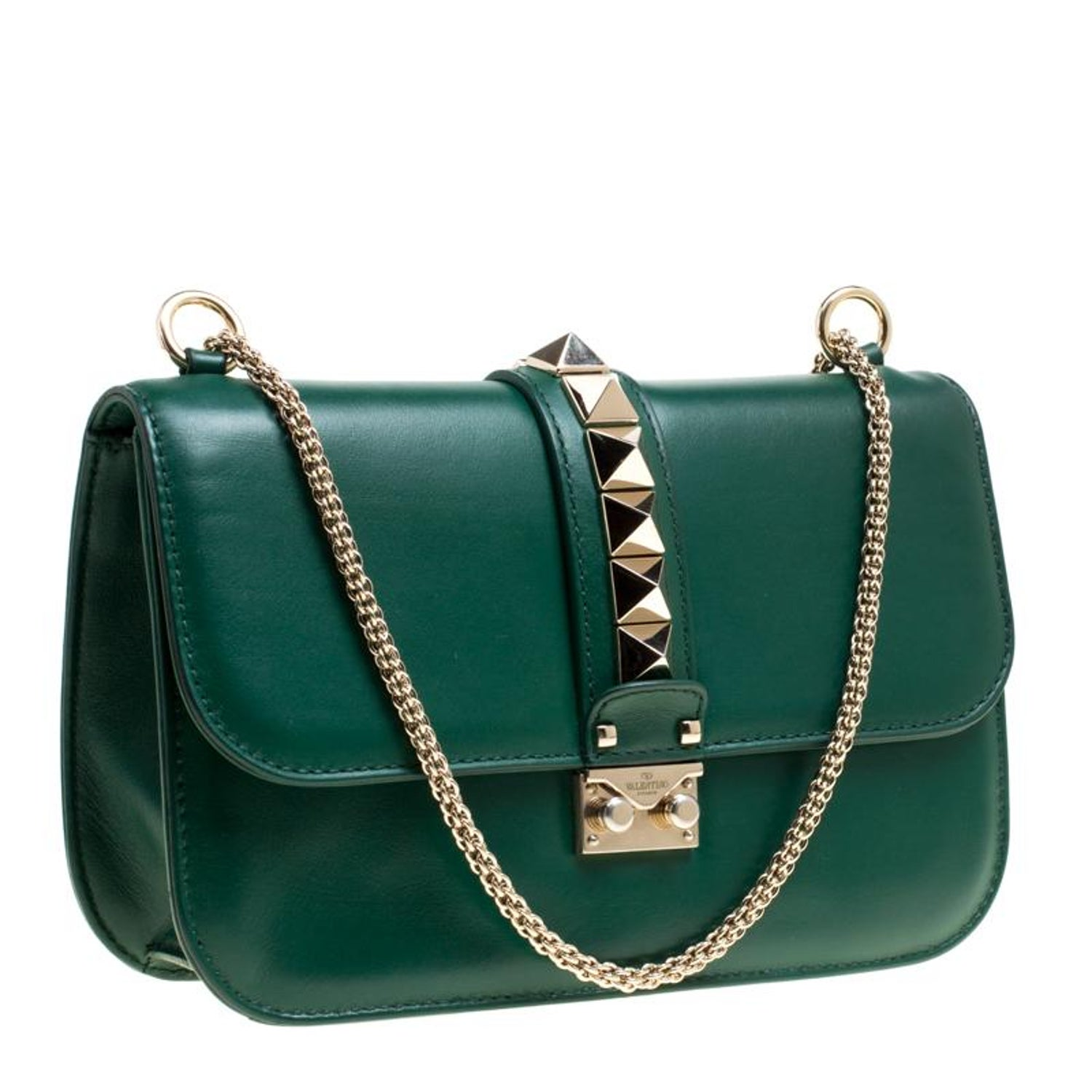 c481dc13d Valentino Green Leather Rockstud Medium Glam Lock Flap Bag For Sale at  1stdibs