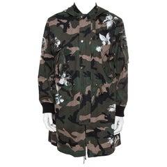Valentino Green Mariposa Camouflage Cotton Hooded Parka Jacket M