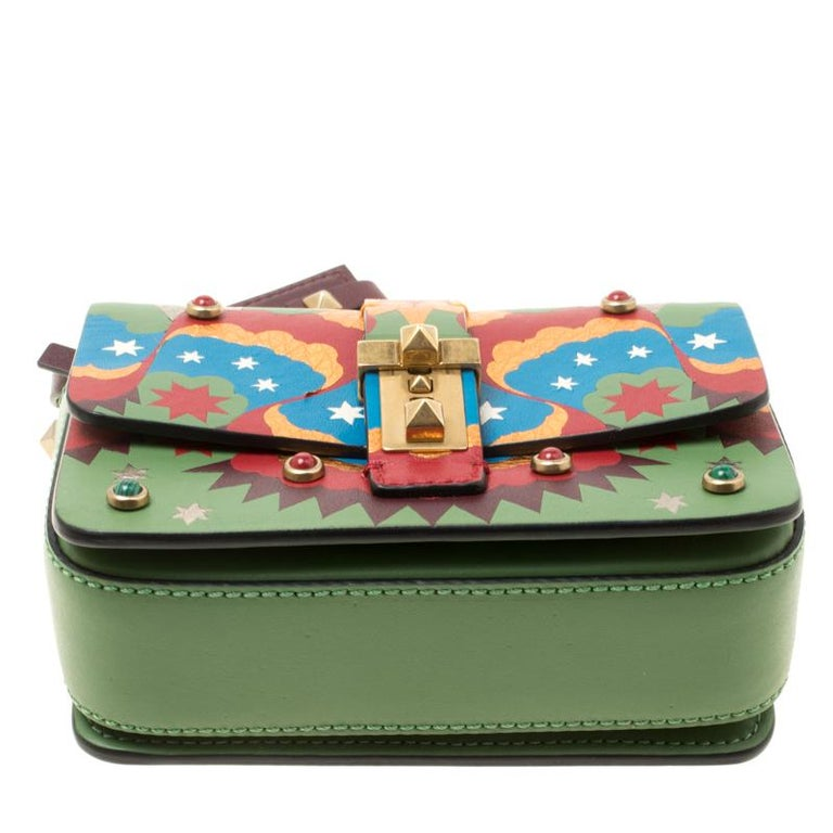 5958136c8484d Valentino Green/Multicolor Print Leather Micro B Rockstud Shoulder Bag For  Sale 1