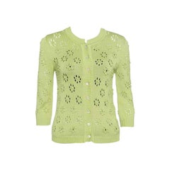 Valentino Green Perforated Bobble Knit Cardigan S