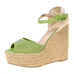 Valentino Green Studded Leather Espadrille Wedge Ankle Strap Sandals Size 39