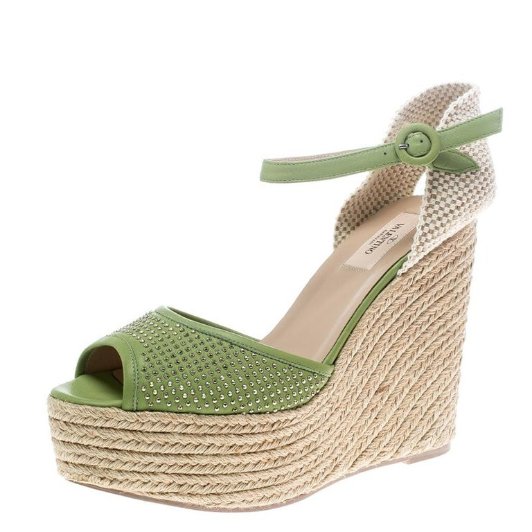 a3c94ad9b2f Valentino Green Studded Leather Espadrille Wedge Ankle Strap Sandals Size 41