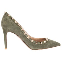 VALENTINO green suede ROCKSTUD 85 POINTED-TOE Pumps Shoes 39