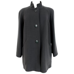 Valentino Green Wool Classic High Collar Coat