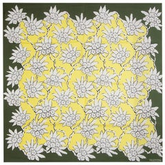 VALENTINO green yellow silk RHODODENDRON FLORAL Scarf
