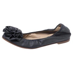 Valentino Grey Canvas Flower Detail Ballet Flats Size 35