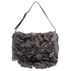 Valentino Grey Floral Applique Leather Flap Shoulder Bag