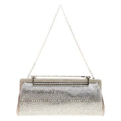 Valentino Grey Satin and Crystal Embellishment Evening Clutch