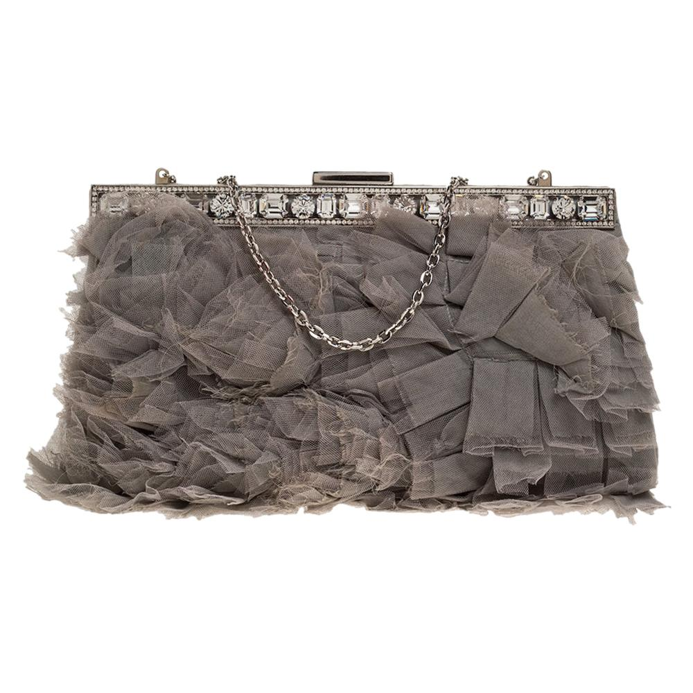 Valentino Grey Satin and Mesh Crystal Embellished Chain Clutch