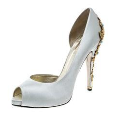 Valentino Grey Satin Embellished Jewel Heel Peep Toe D'orsay Pumps Size 41