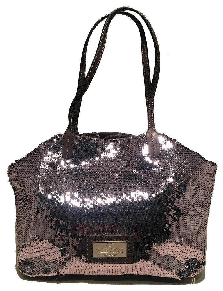 Valentino Grey Silver Sequin Petale Tote Bag In Excellent Condition For Sale In Philadelphia, PA
