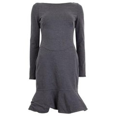 VALENTINO grey wool blend Flared Hem Long Sleeve Sheath Dress 6 S