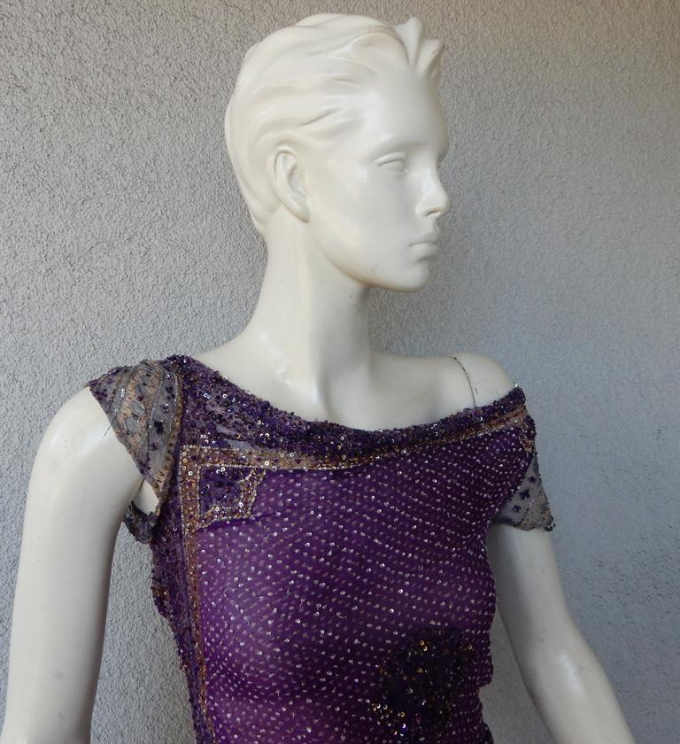 Black  Valentino Hand Beaded Sari Silk Asymmetrical Evening Dress For Sale