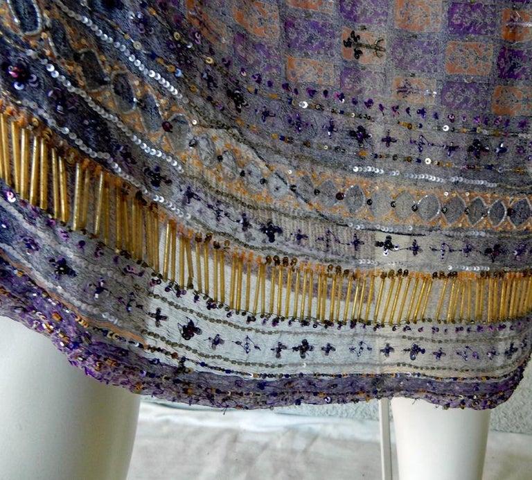 Valentino Hand Beaded Sari Silk Asymmetrical Evening Dress For Sale 1
