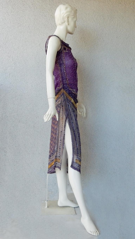 Valentino Hand Beaded Sari Silk Asymmetrical Evening Dress For Sale 2