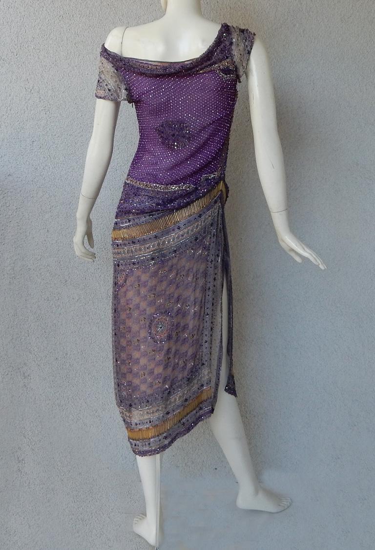 Valentino Hand Beaded Sari Silk Asymmetrical Evening Dress For Sale 3