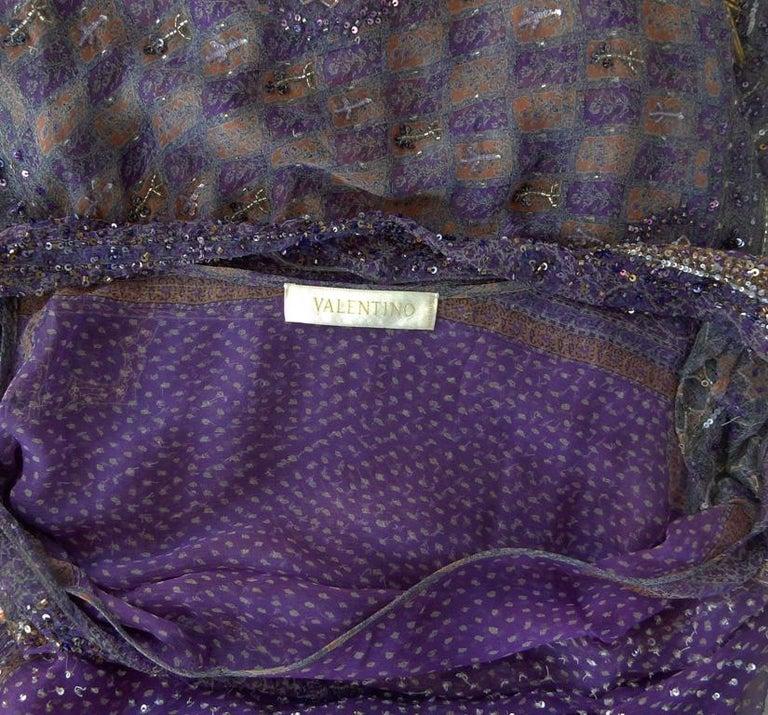 Valentino Hand Beaded Sari Silk Asymmetrical Evening Dress For Sale 4