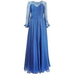 Valentino Haute Couture Beautiful Blue Silk Chiffon Dress, circa 1987