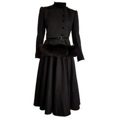 VALENTINO Haute Couture black silk crêpe fox fur jacket hem dress - Unworn, New