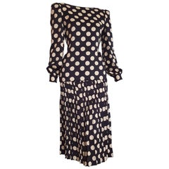 VALENTINO Haute Couture black silk white polka dots Flower on the back - Unworn