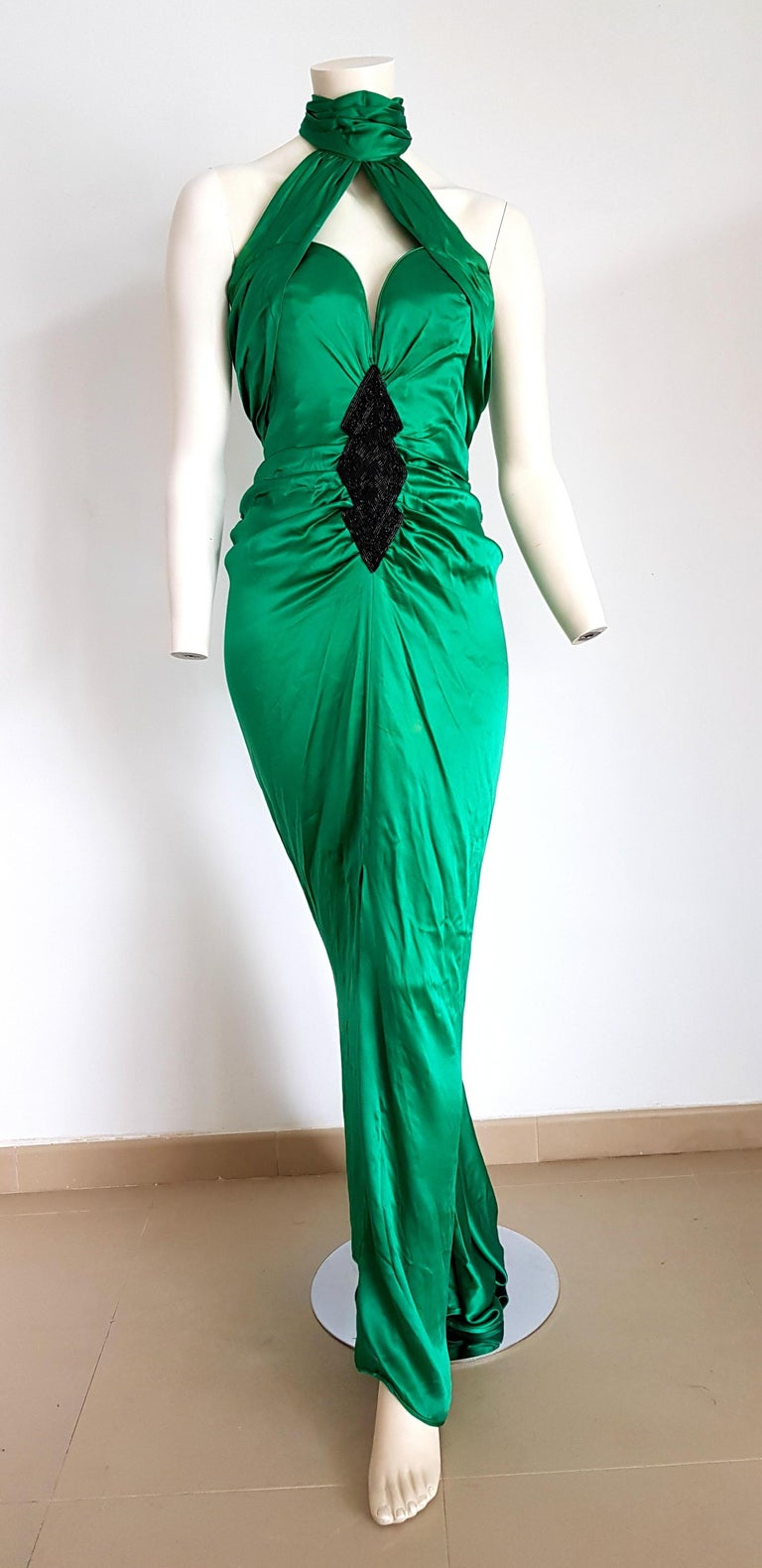 VALENTINO Haute Couture Green, Black Beading Design on Waist, Silk Gown Evening Dress - Unworn, New.  SIZE: equivalent to about Small / Medium, please review approx measurements as follows in cm: lenght 152, chest underarm to underarm 50, bust