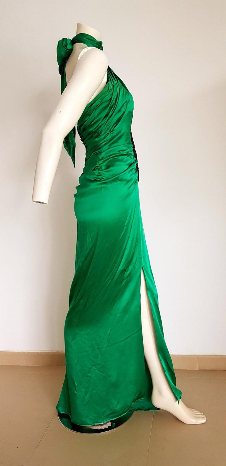 Women's VALENTINO Haute Couture Green Silk Gown Evening Dress - Unworn, New For Sale