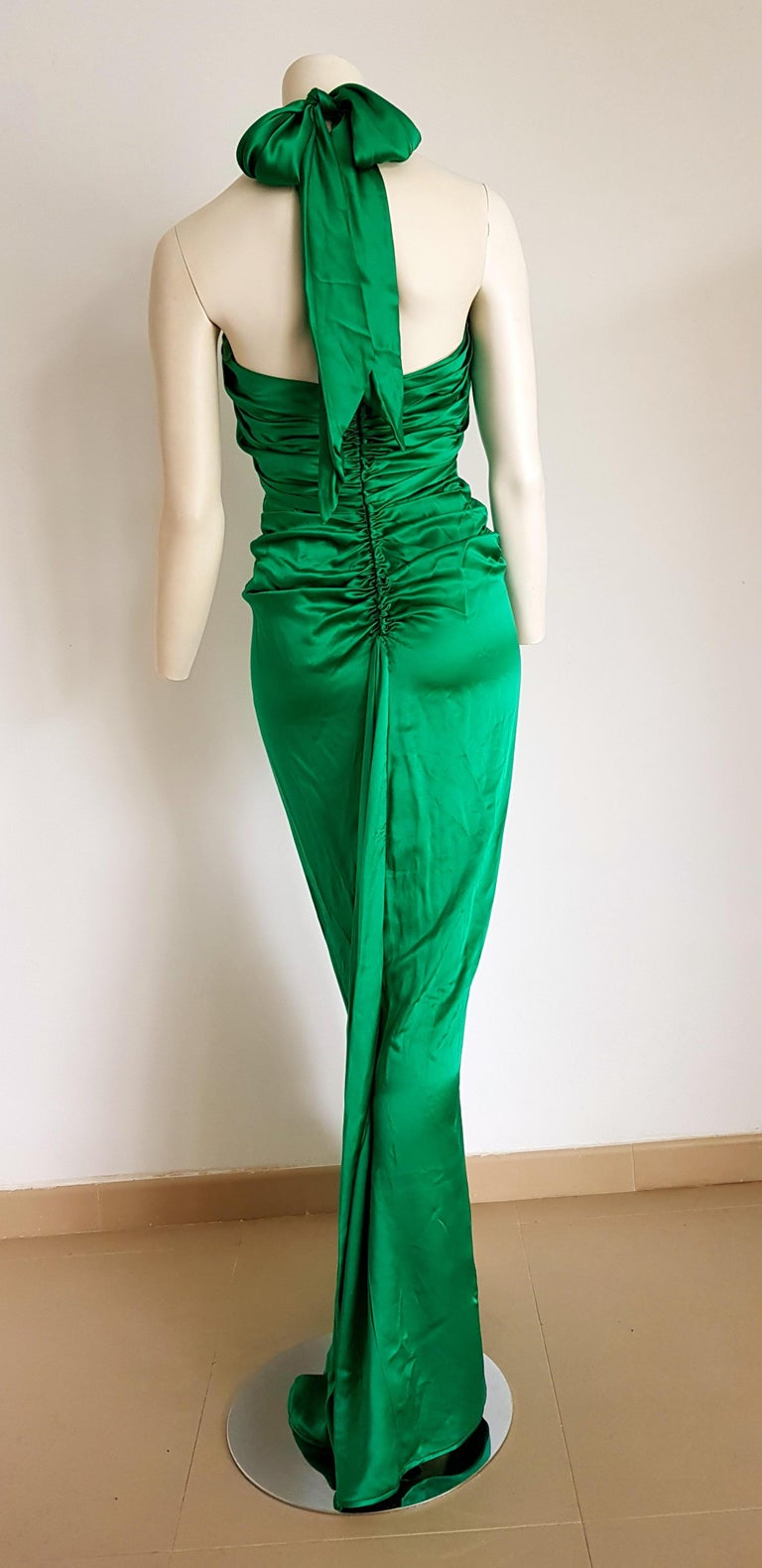 VALENTINO Haute Couture Green Silk Gown Evening Dress - Unworn, New For Sale 1
