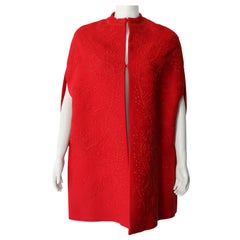 Valentino Haute Couture Red Beaded Embellished Cape